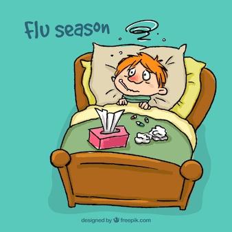 Dibujado a mano niño enfermo de la gripe