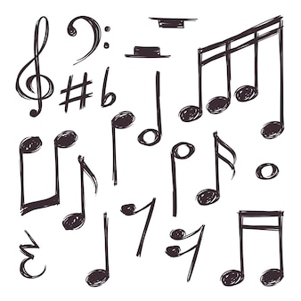 Dibujado a mano nota musical. símbolos musicales aislados en blanco colección doodle.