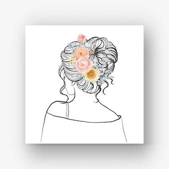 Dibujado a mano novia con hermoso peinado flor ilustración acuarela