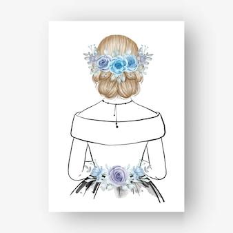 Dibujado a mano novia con hermoso peinado flor ilustración acuarelaa mano dibujada novia con ramo flor azul acuarela ilustración