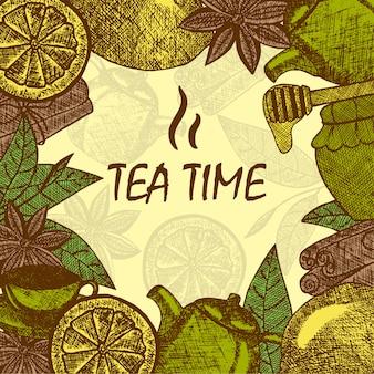 Dibujado a mano objetos de la cultura del té. tetera, limón, canela, miel, hojas de té. plantilla de tarjeta de dibujo vectorial.