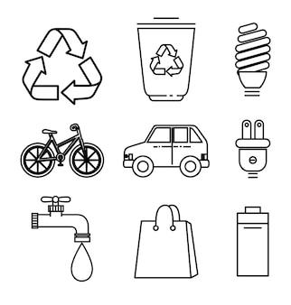 Dibujado a mano objetos respetuosos del medio ambiente conjunto sobre ilustración de vector de fondo blanco
