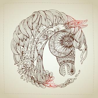 Dibujado a mano ornamental muy detallado abstracto.