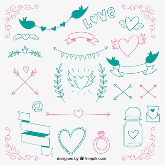 Dibujado a mano ornamentos de boda de colores