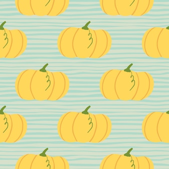 Dibujado a mano otoño sin fisuras patrón de calabaza. elementos de color naranja claro sobre fondo azul con tiras.