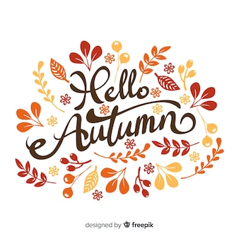 Dibujado a mano otoño fondo de letras