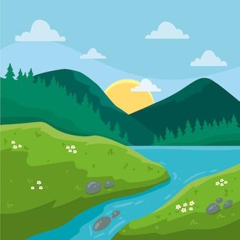 Dibujado a mano paisaje de primavera con montañas y río