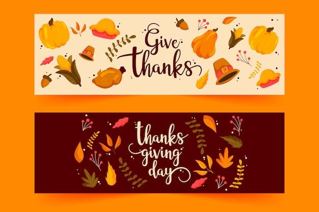 Dibujado a mano pancartas de acción de gracias