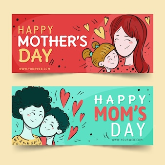 Dibujado a mano pancartas del día de la madre