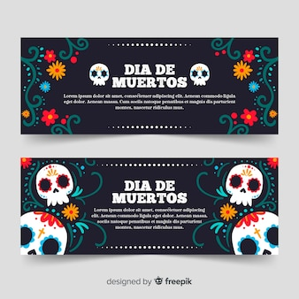 Dibujado a mano pancartas dia de muertos