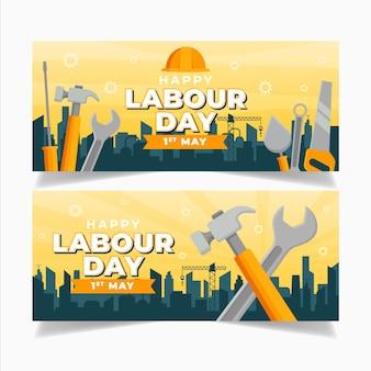 Dibujado a mano pancartas del día del trabajo