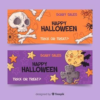 Dibujado a mano pancartas de halloween