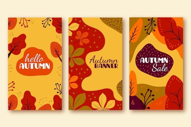 Dibujado a mano pancartas de otoño