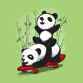 Dibujado a mano panda divertido