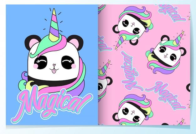 Dibujado a mano panda lindo patrón conjunto