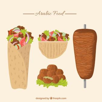 Dibujado a mano paquete de comida tradicional árabe