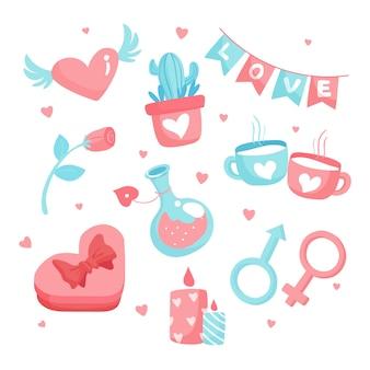 Dibujado a mano paquete de elementos del día de san valentín