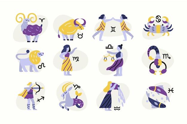 Dibujado a mano paquete de signo del zodíaco