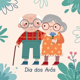 Dibujado a mano pareja de ancianos dia dos avós