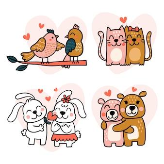 Dibujado a mano pareja de animales del día de san valentín