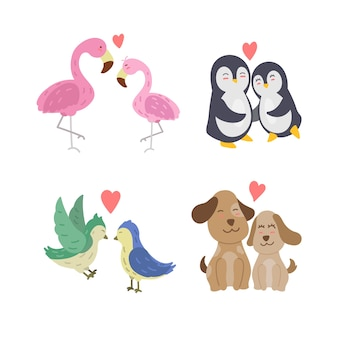 Dibujado a mano pareja de animales de san valentín