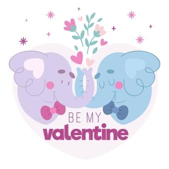 Dibujado a mano pareja de elefantes de san valentín