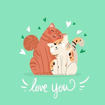 Dibujado a mano pareja de gatos de san valentín