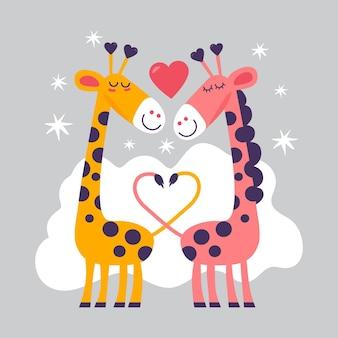 Dibujado a mano pareja de jirafas de san valentín