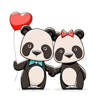 Dibujado a mano pareja de panda de san valentín