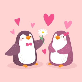 Dibujado a mano pareja de pingüinos de san valentín