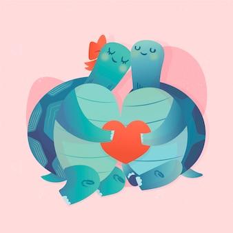 Dibujado a mano pareja de tortugas de san valentín