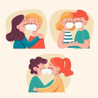 Dibujado a mano parejas besándose con ilustración de máscara covid