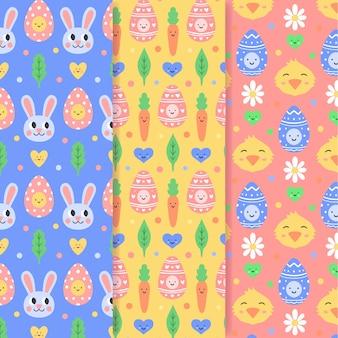 Dibujado a mano de pascua de patrones sin fisuras con conejos y gallinas