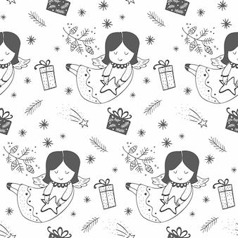 Dibujado a mano patrón de ángeles de navidad