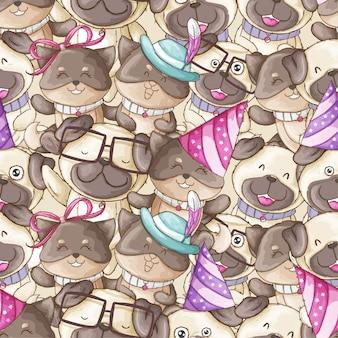 Dibujado a mano patrón animal ilustración de perro