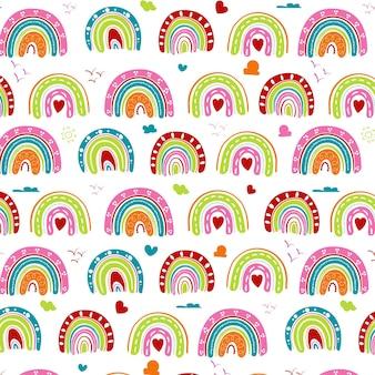 Dibujado a mano patrón de arco iris de colores