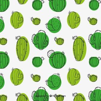 Dibujado a mano patrón de cactus verde
