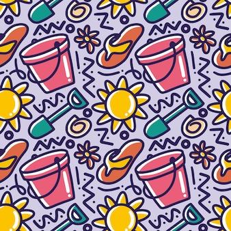Dibujado a mano patrón de doodle de conjunto jugando verano en la playa con iconos y elementos de diseño