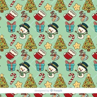 Dibujado a mano patrón de elementos de navidad