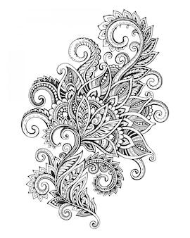 Dibujado a mano patrón de flores ornamentadas en estilo zentangle.