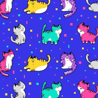 Dibujado a mano patrón de gato lindo colorido