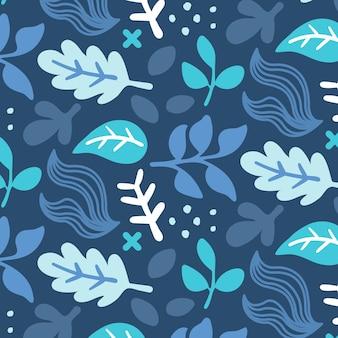 Dibujado a mano patrón de hojas azules abstractas