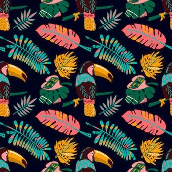 Dibujado a mano sin patrón, con hojas tropicales y tucan.