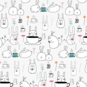 Dibujado a mano patrón lindo conejito con café y flor.
