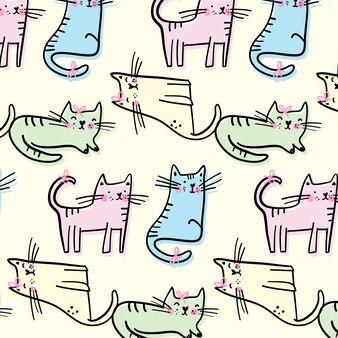 Dibujado a mano patrón lindo gatito
