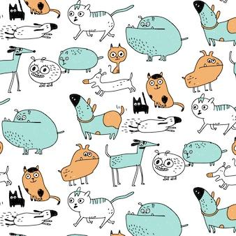 Dibujado a mano patrón lindo perro y gato