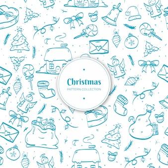 Dibujado a mano patrón de navidad