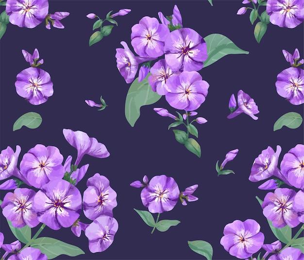 Dibujado a mano patrón de phlox púrpura