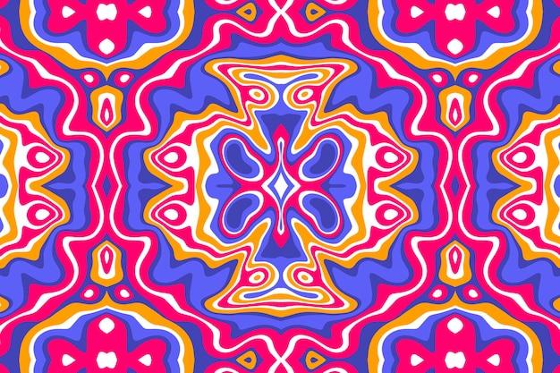 Dibujado a mano patrón psicodélico maravilloso plano