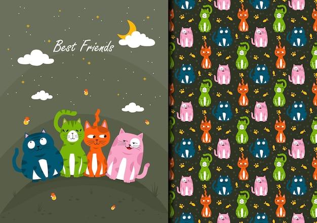 Dibujado a mano patrón de seamles gato y amigos en la noche mejores amigos
